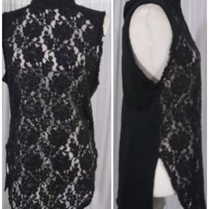 Diesel black lace and knit tank top